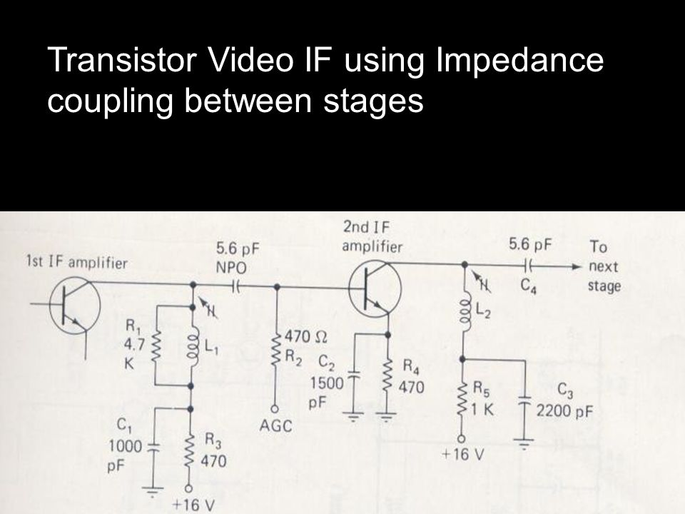 Transistor Video IF using Impedance coupling between stages