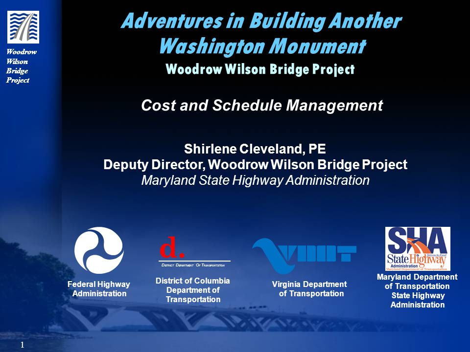 12 Woodrow Wilson Bridge Project Developing the Project Budget Refining the Estimates Unified Preliminary Investigation (PI) or 30% Plans prepared for the main bridge and each interchange to facilitate better cost estimating Work broken into contracts based on construction and MOT needs The design of work that was needed first was advanced first, while the rest of the work remained at the PI stage Detailed cost estimates prepared as design advanced beyond the PI stage Contingencies at Semi-Final or 65% Plans was 15% and 5% for Final Review or 90% Plans Unified Preliminary Investigation (PI) or 30% Plans prepared for the main bridge and each interchange to facilitate better cost estimating Work broken into contracts based on construction and MOT needs The design of work that was needed first was advanced first, while the rest of the work remained at the PI stage Detailed cost estimates prepared as design advanced beyond the PI stage Contingencies at Semi-Final or 65% Plans was 15% and 5% for Final Review or 90% Plans
