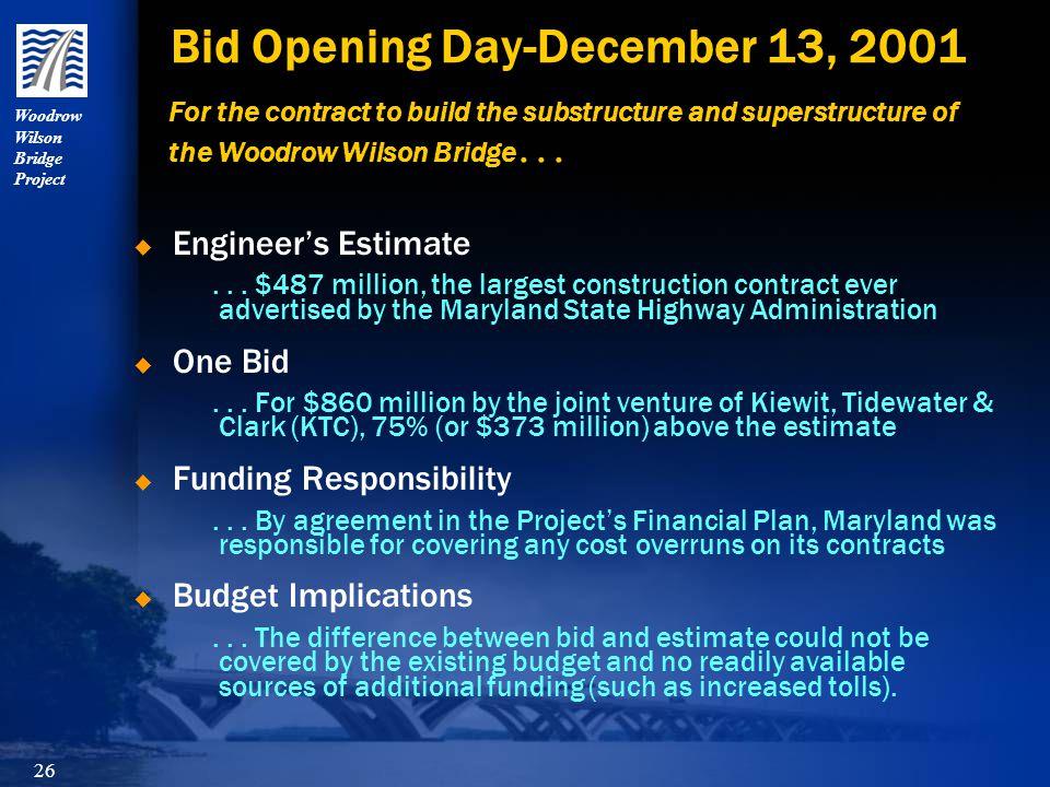 Woodrow Wilson Bridge Project 26 Bid Opening Day-December 13, 2001  Engineer's Estimate...