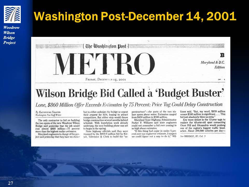 Woodrow Wilson Bridge Project 27 Washington Post-December 14, 2001