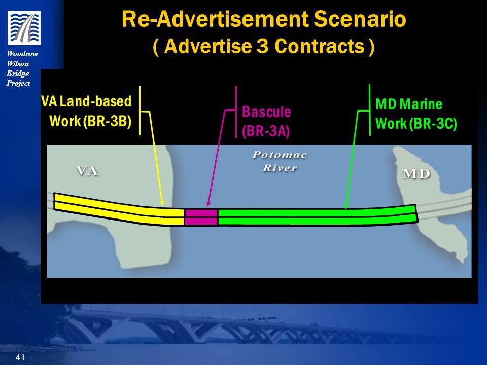Woodrow Wilson Bridge Project 41 Re-Advertisement Scenario ( Advertise 3 Contracts )Bascule(BR-3A) MD Marine Work (BR-3C) VA Land-based Work (BR-3B) Work (BR-3B)