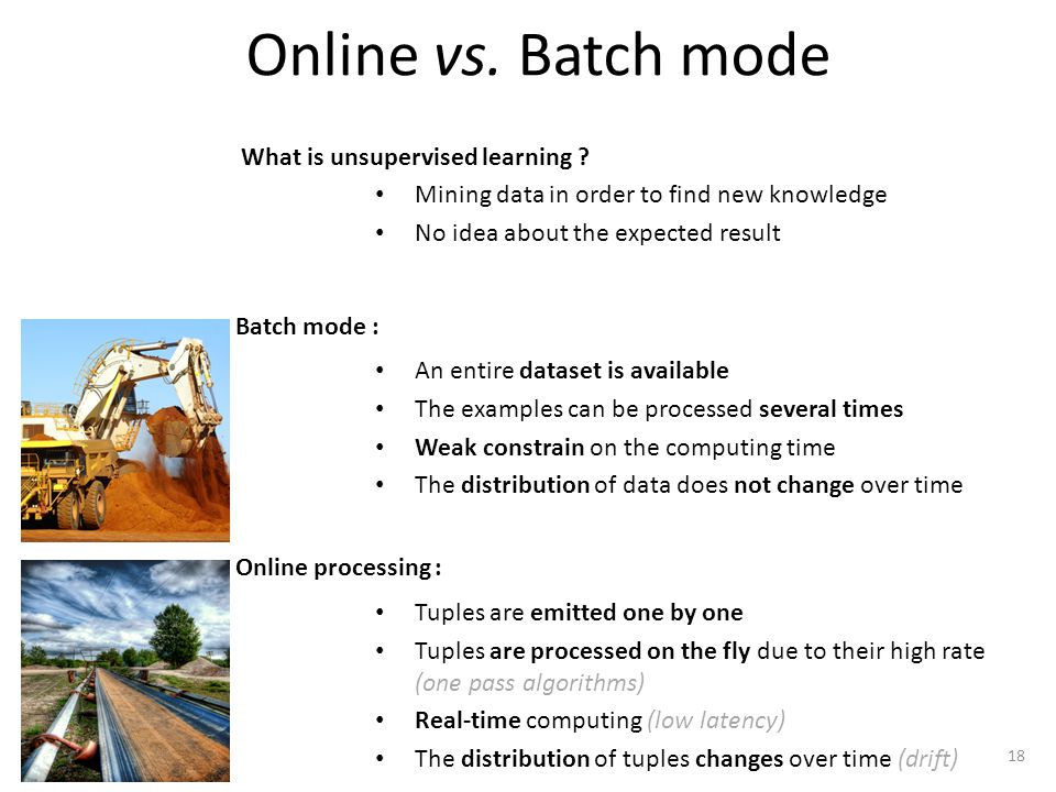 Online vs. Batch mode An entire dataset is available The examples can be processed several times Weak constrain on the computing time The distribution