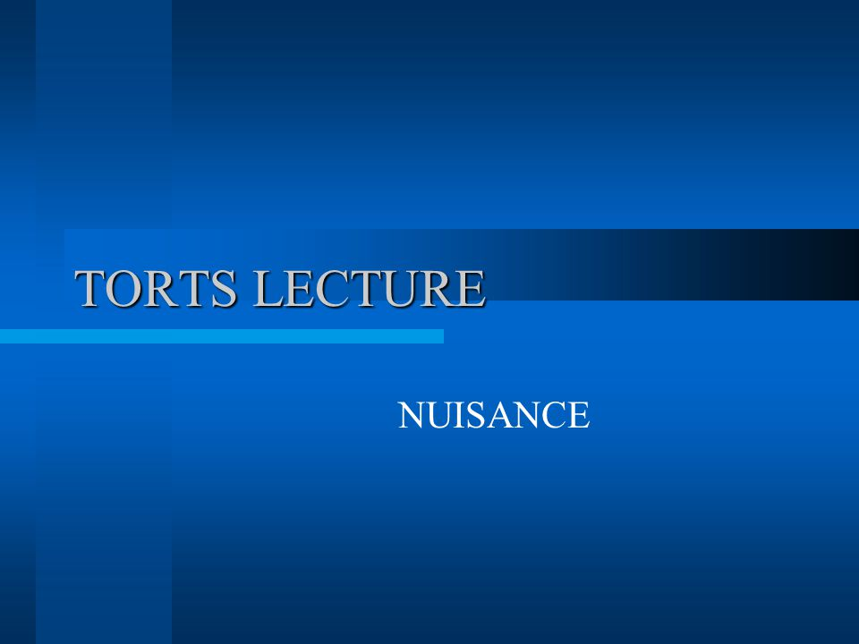 TORTS LECTURE NUISANCE