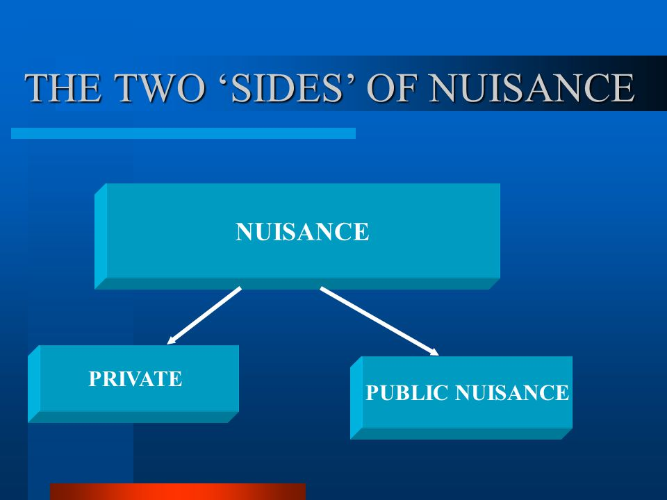 THE TWO 'SIDES' OF NUISANCE NUISANCE PRIVATE PUBLIC NUISANCE