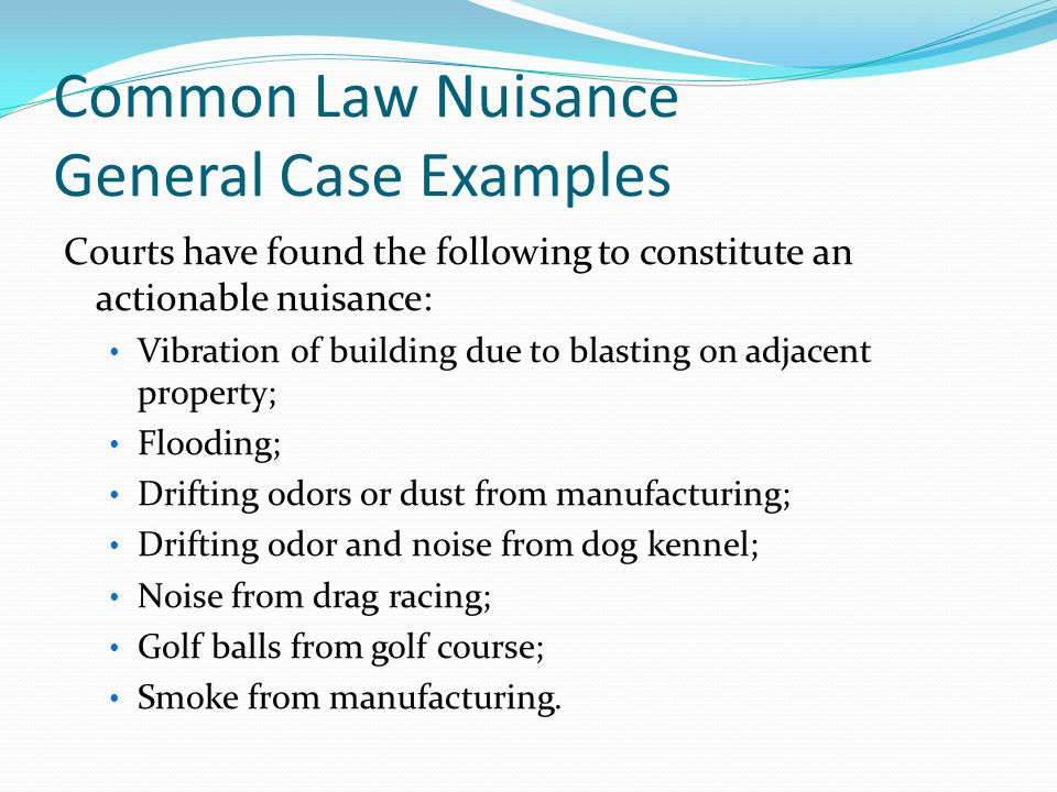 Common Law Nuisance General Case Examples Courts have found the following to constitute an actionable nuisance: Vibration of building due to blasting on adjacent property; Flooding; Drifting odors or dust from manufacturing; Drifting odor and noise from dog kennel; Noise from drag racing; Golf balls from golf course; Smoke from manufacturing.