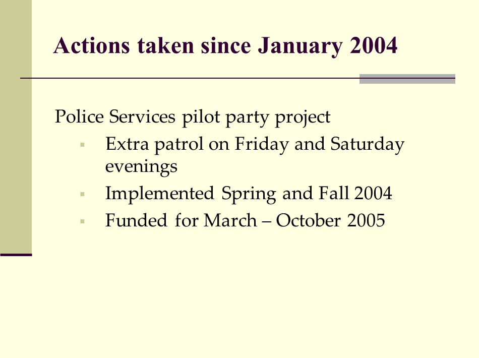 Actions taken since January 2004 Police Services pilot party project  Extra patrol on Friday and Saturday evenings  Implemented Spring and Fall 2004  Funded for March – October 2005