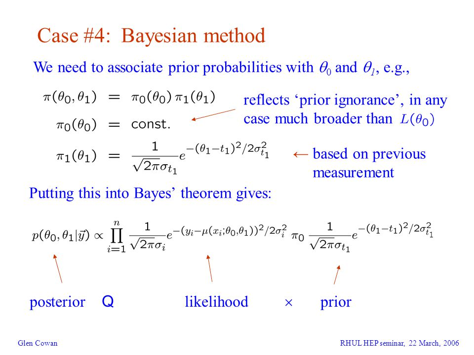 12 Glen Cowan Case #4: Bayesian method We need to associate prior probabilities with  0 and  1, e.g., Putting this into Bayes' theorem gives: posterior Q likelihood  prior ← based on previous measurement reflects 'prior ignorance', in any case much broader than RHUL HEP seminar, 22 March, 2006