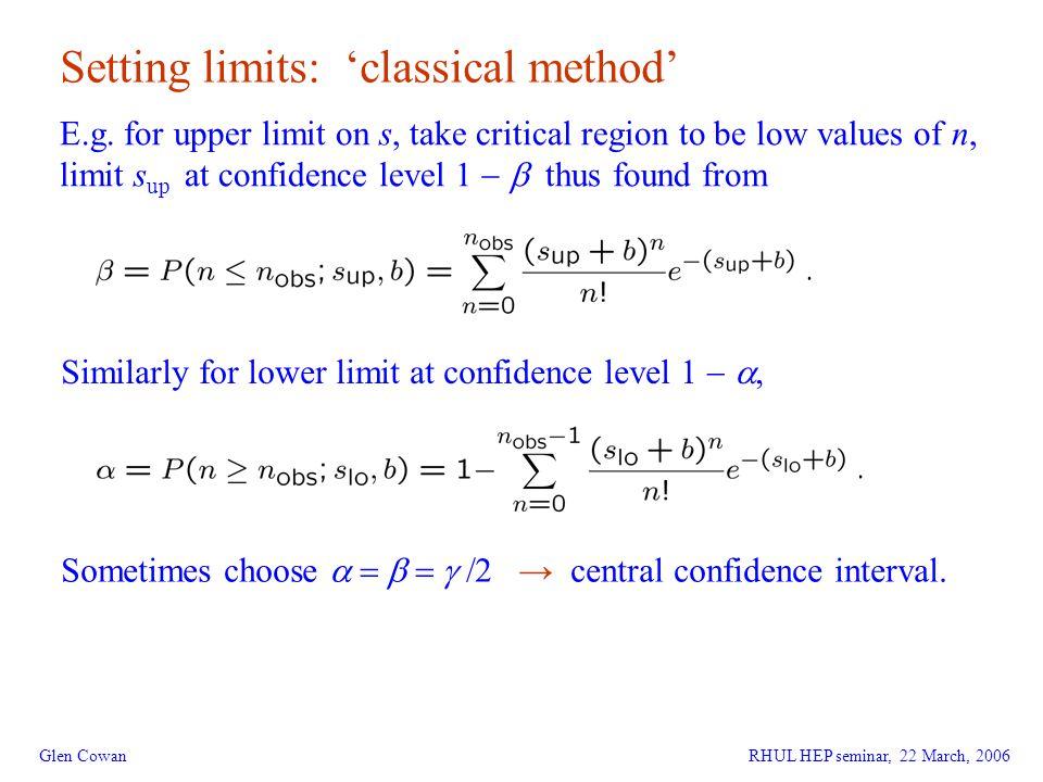 23 Glen Cowan Setting limits: 'classical method' E.g.