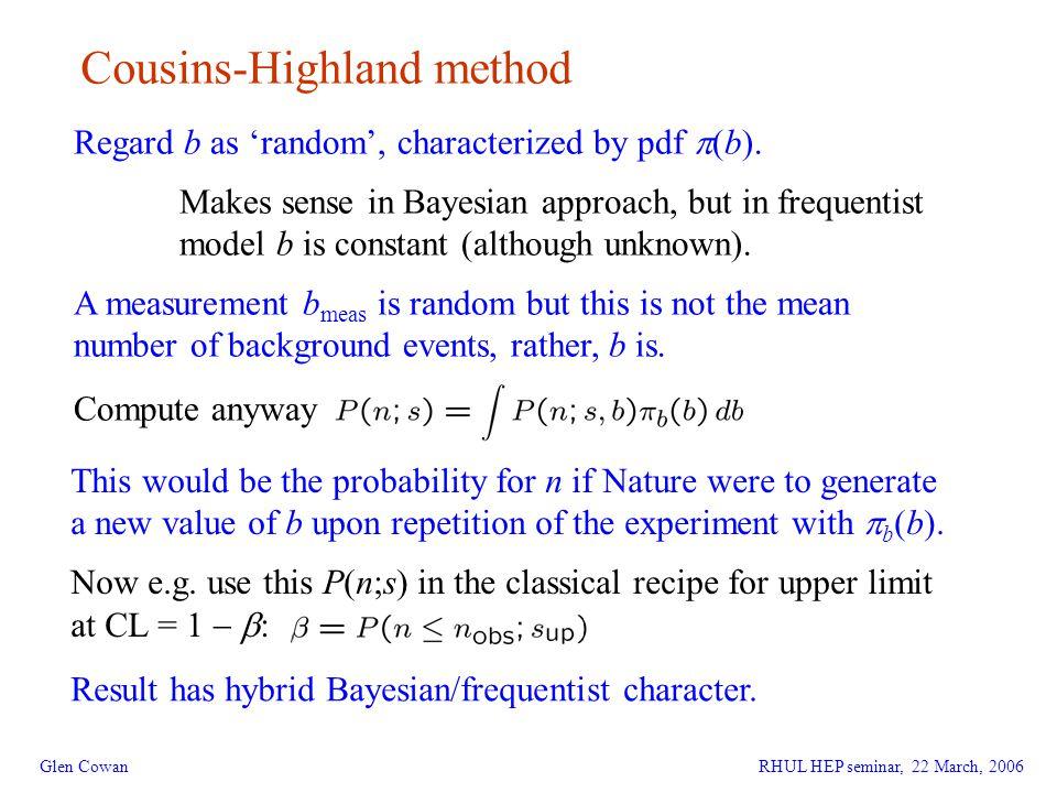 27 Glen Cowan Cousins-Highland method Regard b as 'random', characterized by pdf  (b).