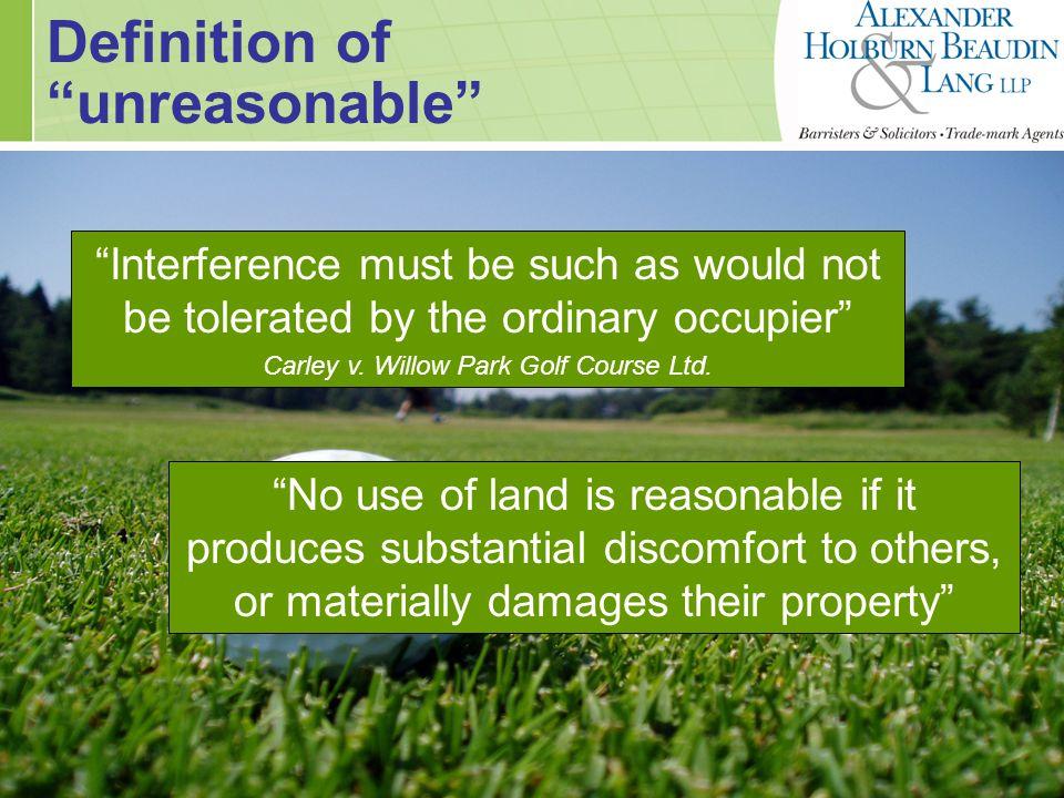Primary Consideration Frequency of golf ball intrusions > 200 balls/yearNUISANCE Carley, Segal, Douglas Lake, Sammut, Skobleniuk  < 10-20 balls/year  NUISANCE Lakeview Gardens