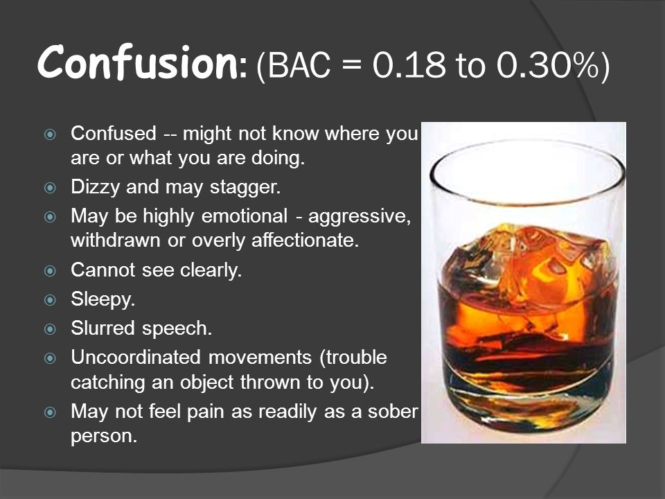 Confusion : (BAC = 0.18 to 0.30%)  Confused -- might not know where you are or what you are doing.
