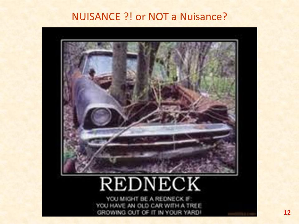 NUISANCE ! or NOT a Nuisance 12