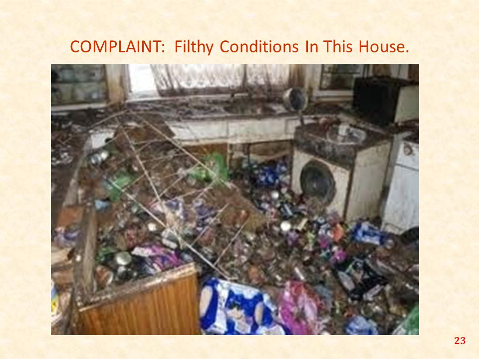 COMPLAINT: Filthy Conditions In This House. 23
