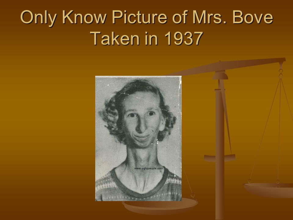 Only Know Picture of Mrs. Bove Taken in 1937