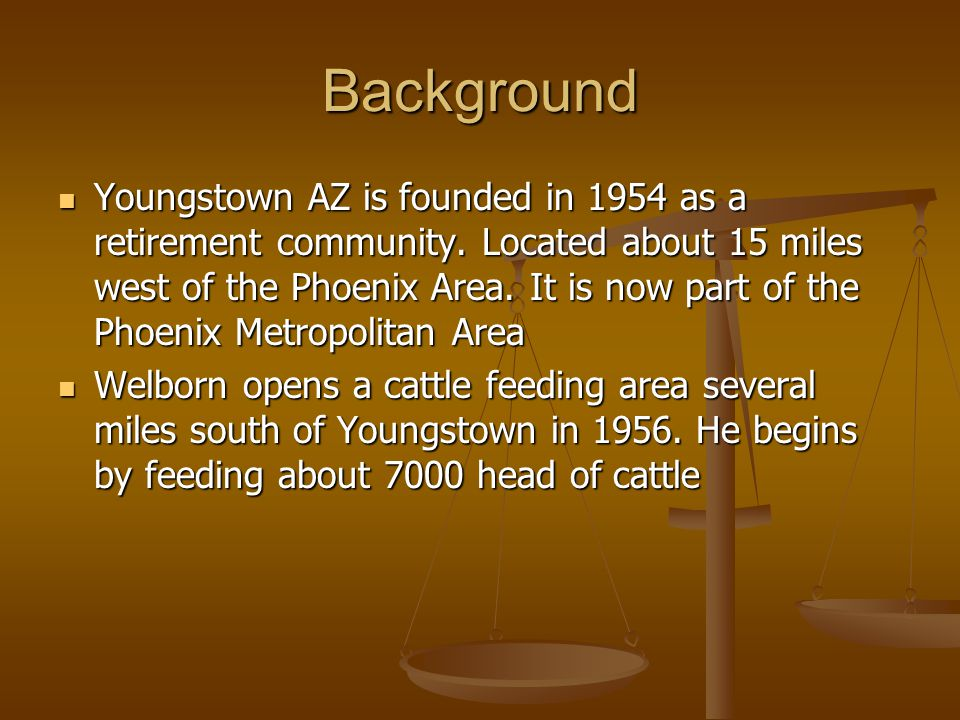 Background Youngstown AZ is founded in 1954 as a retirement community.