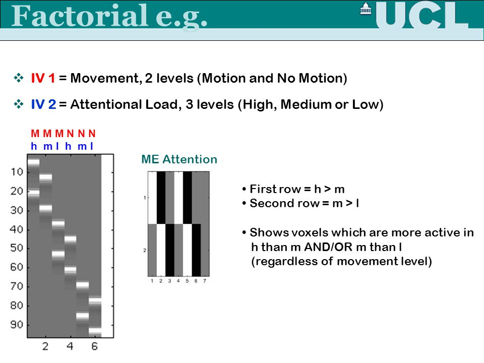 Rebecca Knight Factorial e.g.  IV 1 = Movement, 2 levels (Motion and No Motion)  IV 2 = Attentional Load, 3 levels (High, Medium or Low) M M M N N N