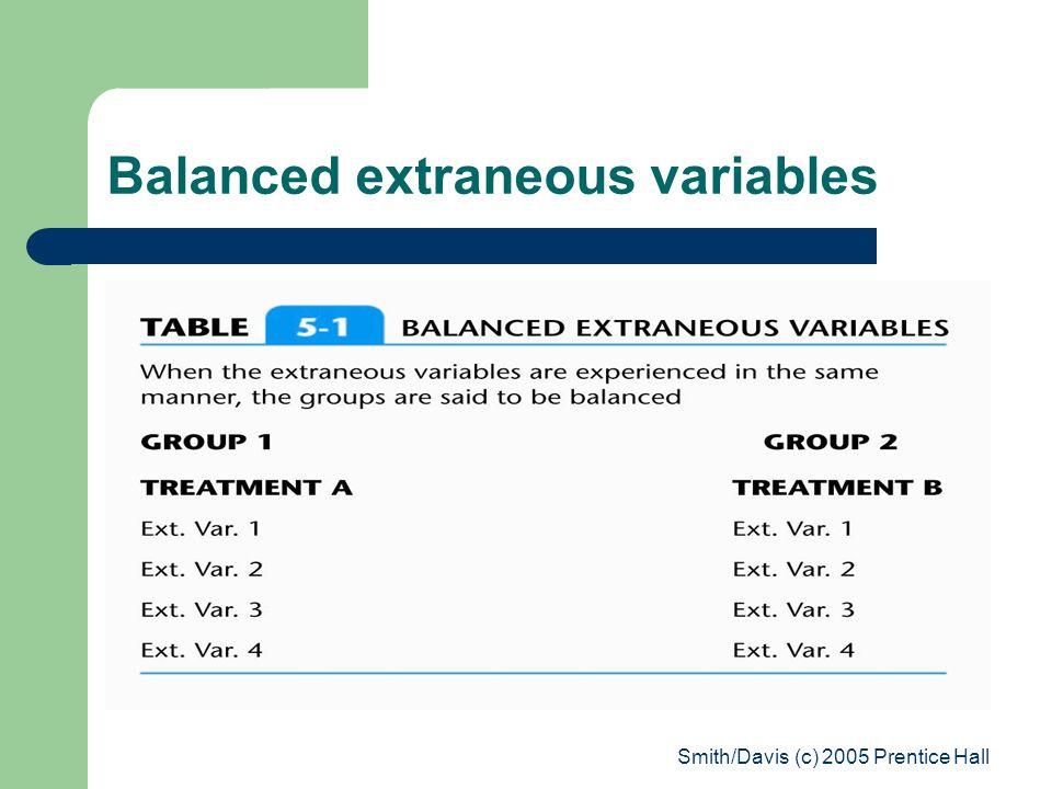 Smith/Davis (c) 2005 Prentice Hall Balanced extraneous variables