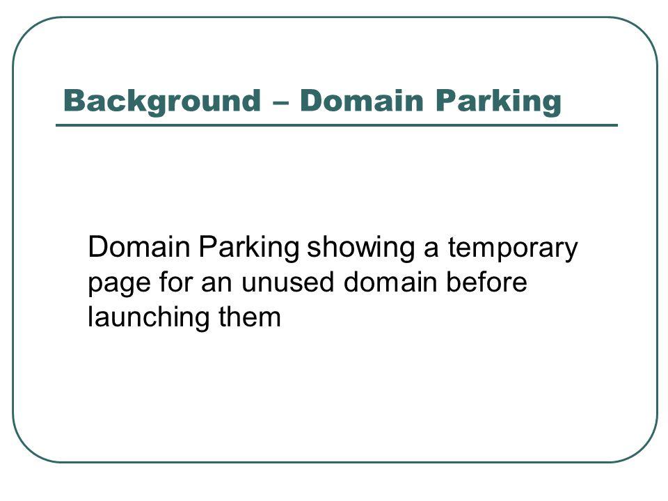 Methodology – Identify Typo- squatting Domain Similar DomainParked Domain Typo-Squatting Domain