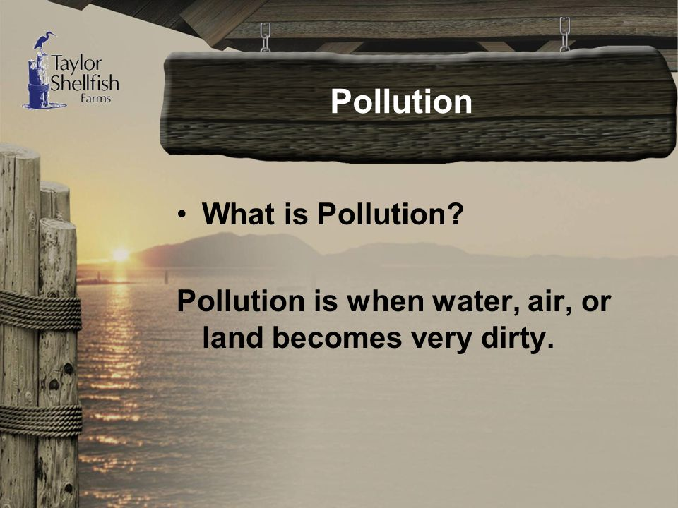 Pollution What is Pollution Pollution is when water, air, or land becomes very dirty.