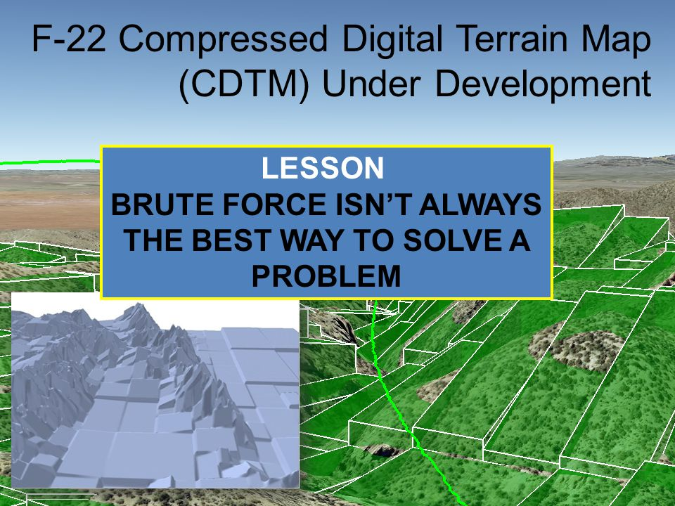 Tip Tilt Terrain Encoding F-22 Compressed Digital Terrain Map (CDTM) Under Development LESSON BRUTE FORCE ISN'T ALWAYS THE BEST WAY TO SOLVE A PROBLEM