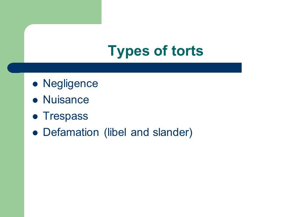Types of torts Negligence Nuisance Trespass Defamation (libel and slander)