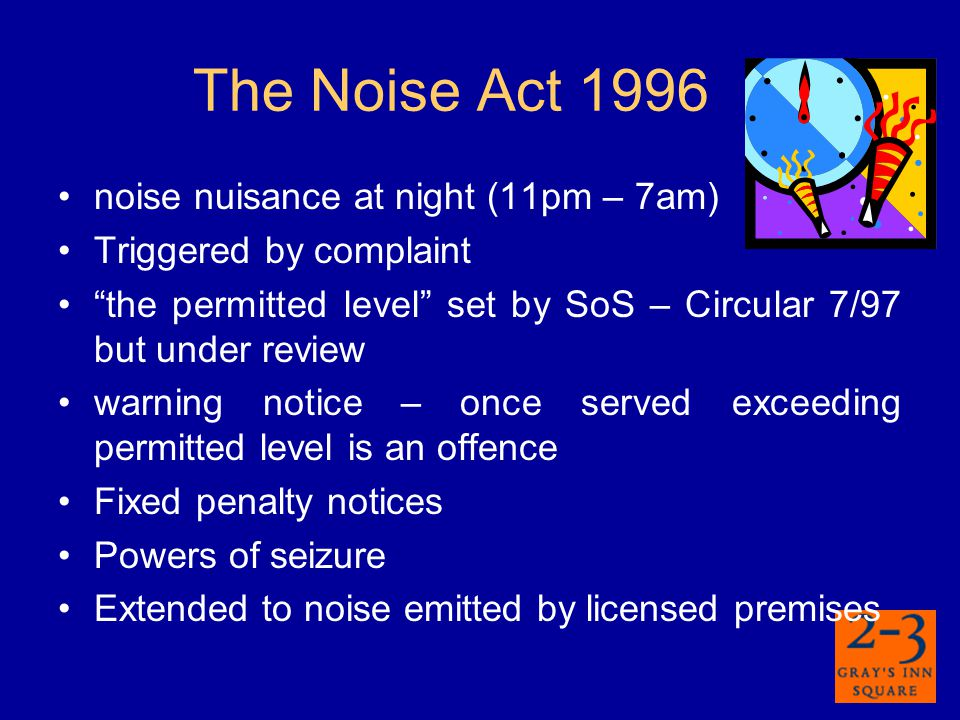 Control of Pollution Act 1974 CoPA 1974 s60 – power to serve a notice specifying machinery, hours of work and levels of noise in relation to construction CoPA 1974 s61 – power to approve application setting out works, methods and steps to minimise noise.
