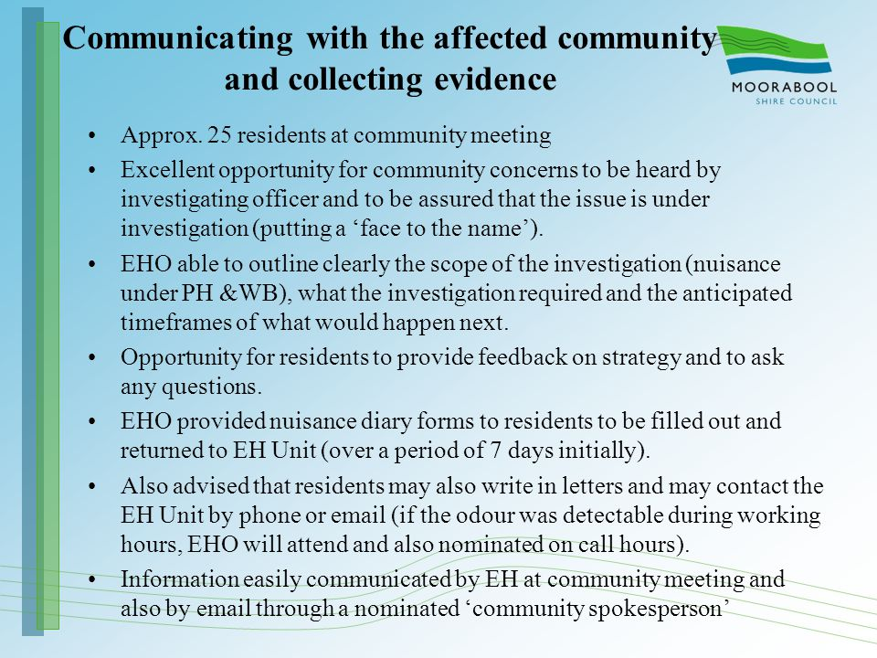 Communicating with the affected community and collecting evidence Approx.
