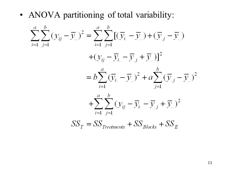 11 ANOVA partitioning of total variability: