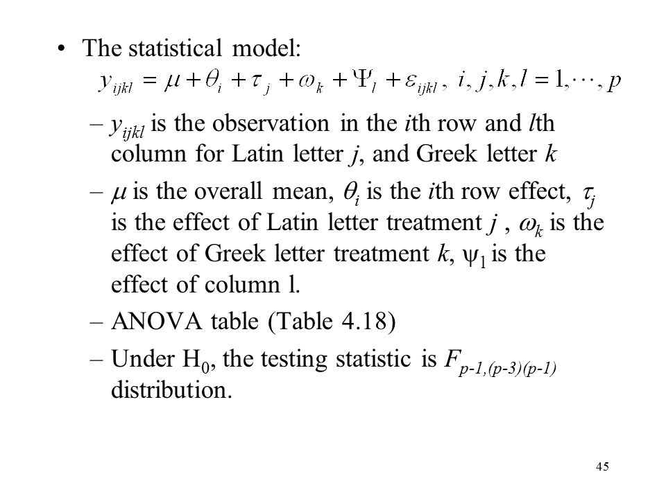 45 The statistical model: –y ijkl is the observation in the ith row and lth column for Latin letter j, and Greek letter k –  is the overall mean,  i