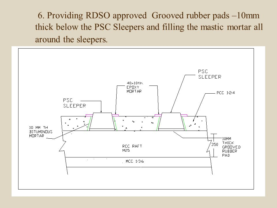 6. Providing RDSO approved Grooved rubber pads –10mm thick below the PSC Sleepers and filling the mastic mortar all around the sleepers.