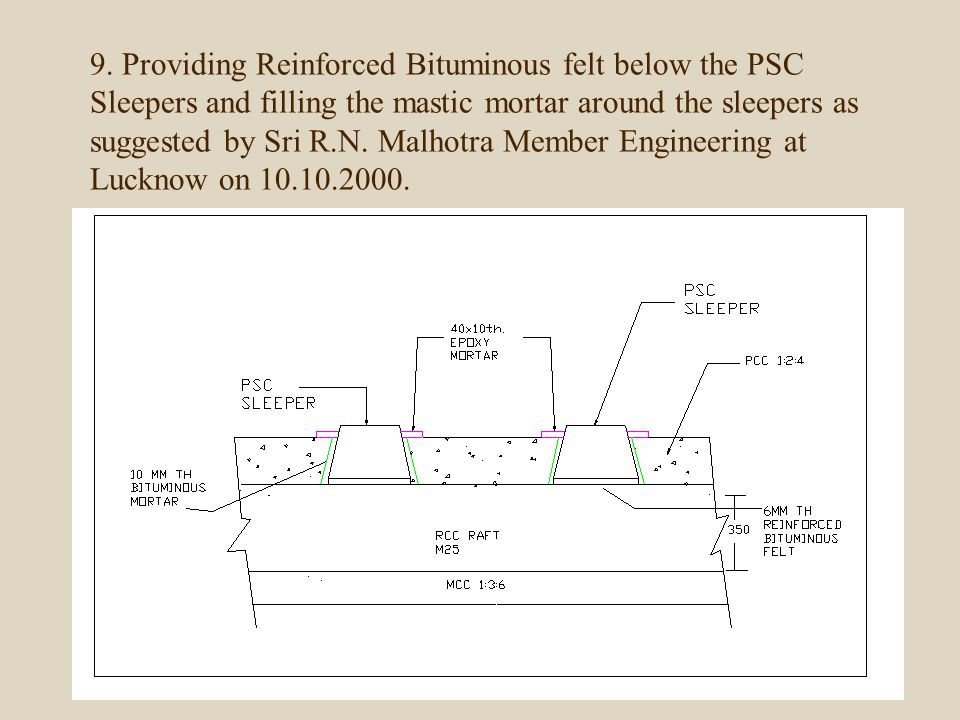 9. Providing Reinforced Bituminous felt below the PSC Sleepers and filling the mastic mortar around the sleepers as suggested by Sri R.N. Malhotra Mem