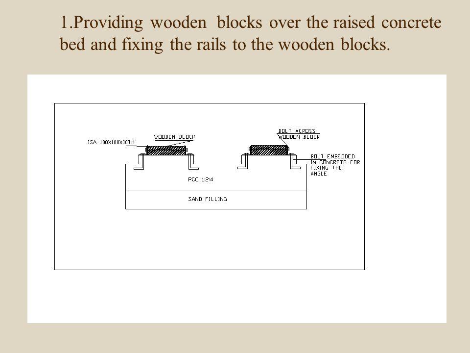 1.Providing wooden blocks over the raised concrete bed and fixing the rails to the wooden blocks.