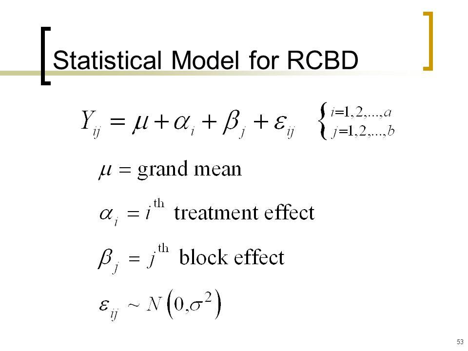 53 Statistical Model for RCBD