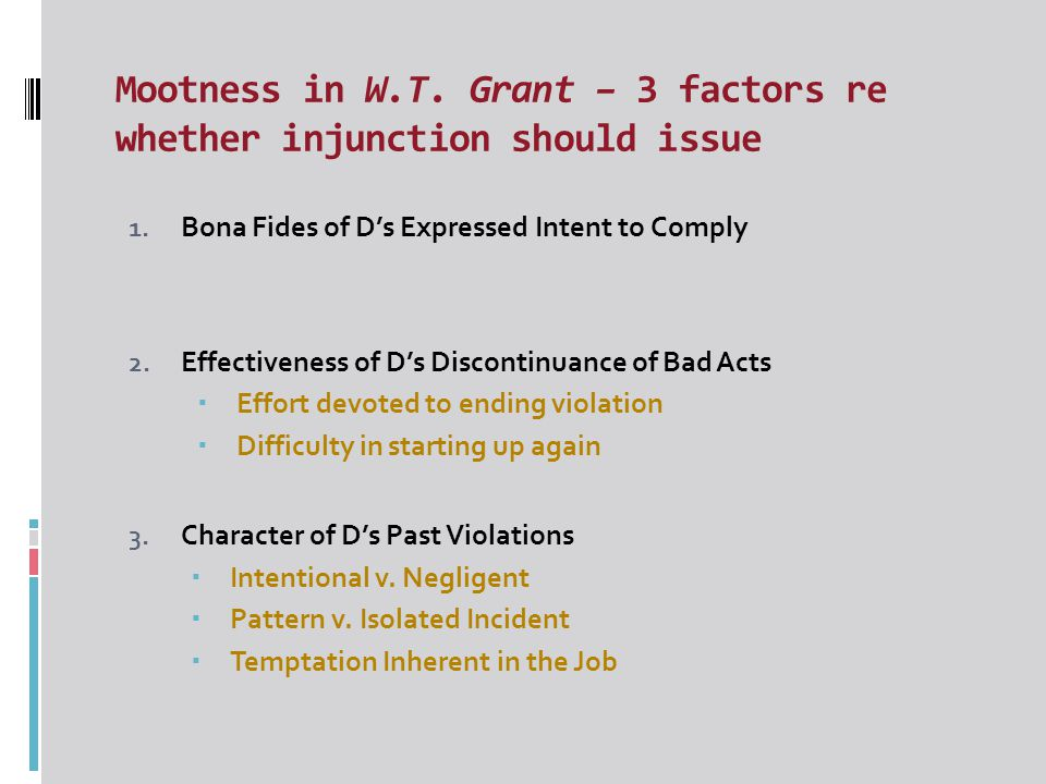 Prevent Injunctions, Ripeness & Uncertain Consequences – In the context of Nicholson  Court will only grant an injunction if the threatened harm is ripe – i.e.