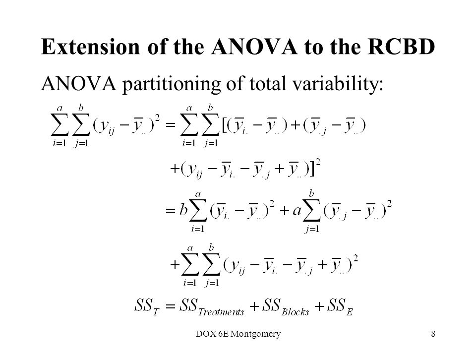 DOX 6E Montgomery8 Extension of the ANOVA to the RCBD ANOVA partitioning of total variability: