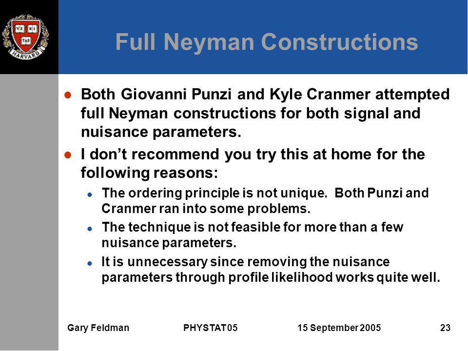 Gary Feldman PHYSTAT 05 15 September 2005 23 Full Neyman Constructions l Both Giovanni Punzi and Kyle Cranmer attempted full Neyman constructions for both signal and nuisance parameters.