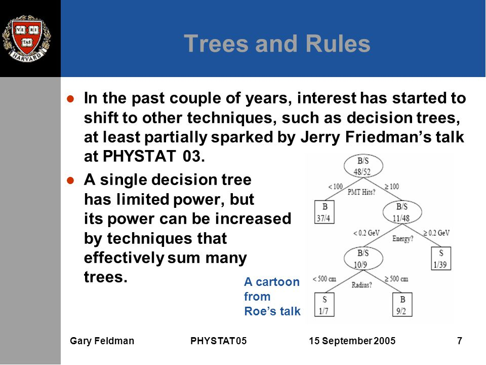 Gary Feldman PHYSTAT 05 15 September 2005 7 Trees and Rules l In the past couple of years, interest has started to shift to other techniques, such as decision trees, at least partially sparked by Jerry Friedman's talk at PHYSTAT 03.