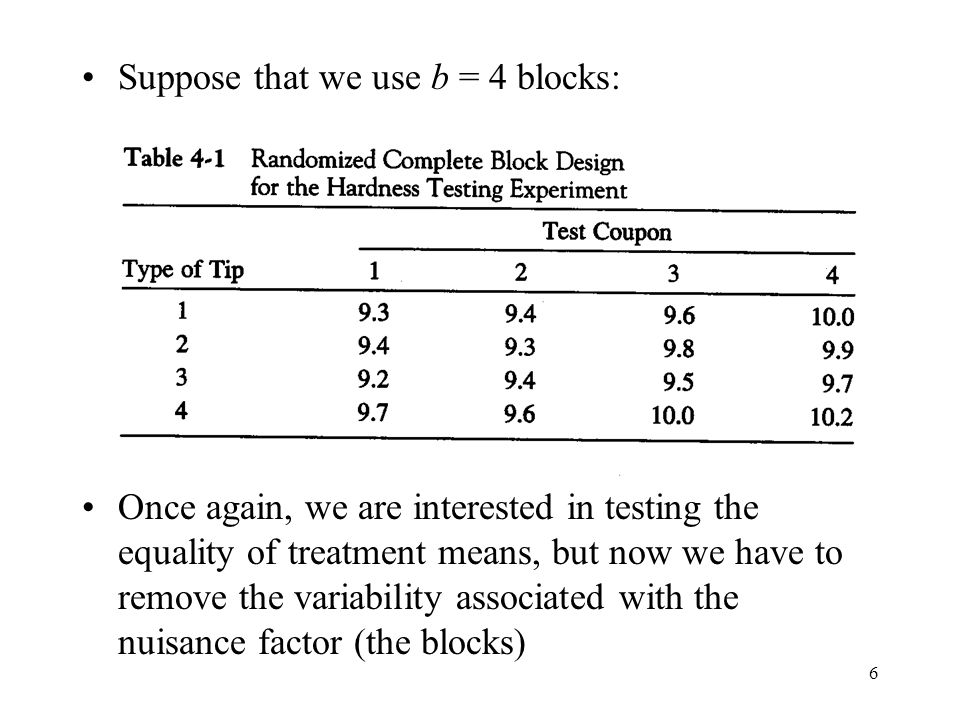 6 Suppose that we use b = 4 blocks: Once again, we are interested in testing the equality of treatment means, but now we have to remove the variabilit