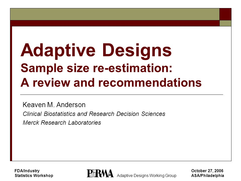 12 Adaptive Designs Working Group Outline Introduction/background Methods Fully sequential and group sequential designs Adaptive sample size re-estimation  Background  Nuisance parameter estimation/internal pilot studies  Blinded sample size re-estimation  Unblinded sample size re-estimation  Conditional power and related methods Discussion and recommendations Case studies Evolving issues