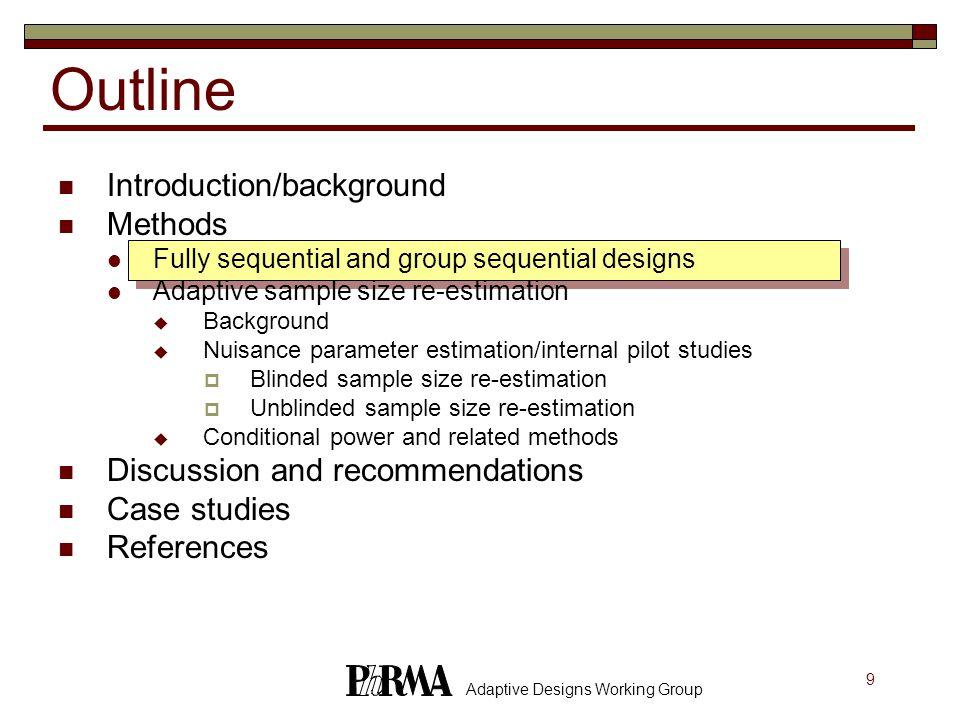50 Adaptive Designs Working Group References Shih (1993) Drug Information Journal, 27:761-764.