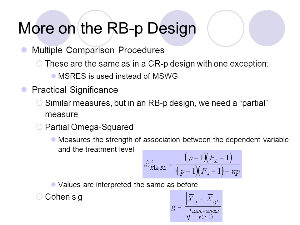 More on the RB-p Design Multiple Comparison Procedures  These are the same as in a CR-p design with one exception: MSRES is used instead of MSWG Practical Significance  Similar measures, but in an RB-p design, we need a partial measure  Partial Omega-Squared Measures the strength of association between the dependent variable and the treatment level Values are interpreted the same as before  Cohen's g