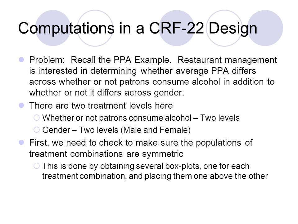 Computations in a CRF-22 Design Problem: Recall the PPA Example.