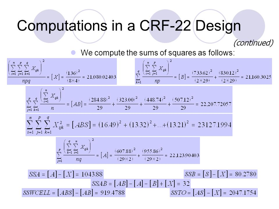 Computations in a CRF-22 Design (continued) We compute the sums of squares as follows: