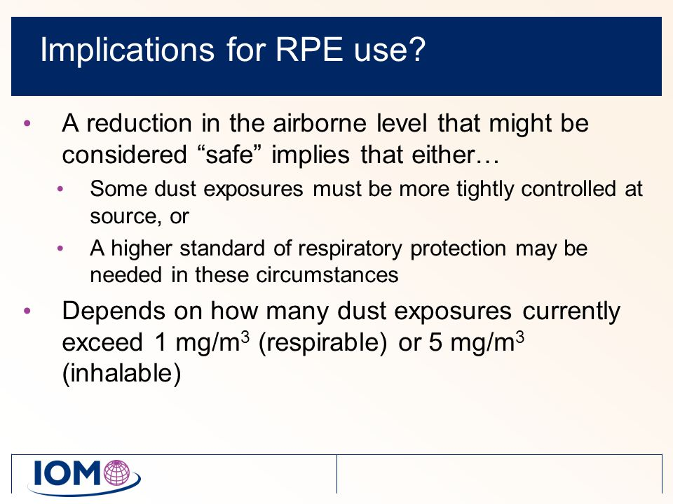 Implications for RPE use.