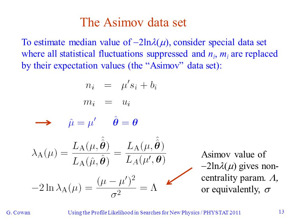 Using the Profile Likelihood in Searches for New Physics / PHYSTAT 2011 13 The Asimov data set To estimate median value of  2ln (  ), consider special data set where all statistical fluctuations suppressed and n i, m i are replaced by their expectation values (the Asimov data set): G.