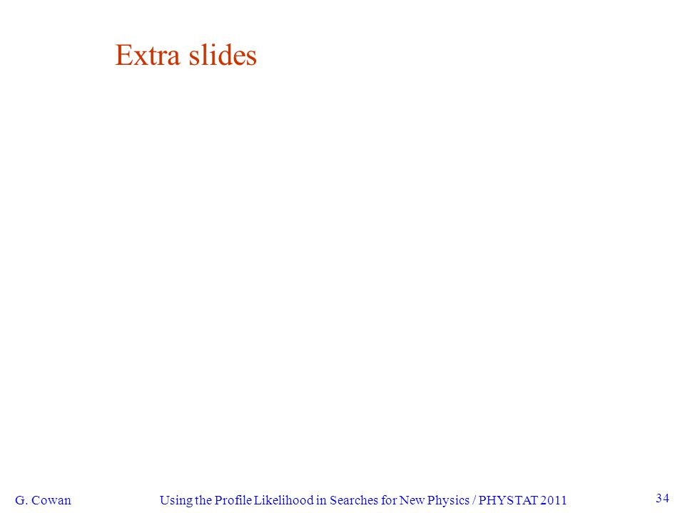 Using the Profile Likelihood in Searches for New Physics / PHYSTAT 2011 G. Cowan 34 Extra slides