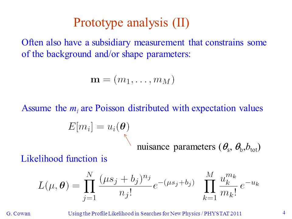 Using the Profile Likelihood in Searches for New Physics / PHYSTAT 2011 25 Example 2: Shape analysis G.