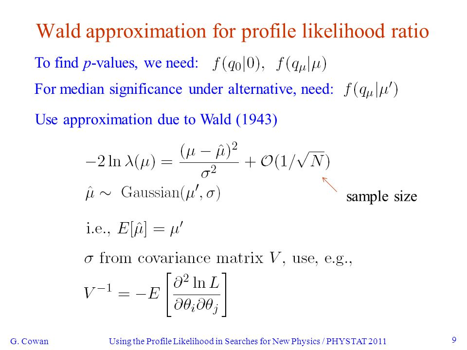 Using the Profile Likelihood in Searches for New Physics / PHYSTAT 2011 9 Wald approximation for profile likelihood ratio To find p-values, we need: For median significance under alternative, need: G.