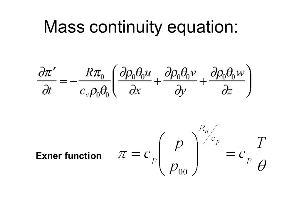 Mass continuity equation: Exner function
