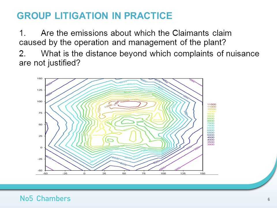 GROUP LITIGATION IN PRACTICE 1.Are the emissions about which the Claimants claim caused by the operation and management of the plant.
